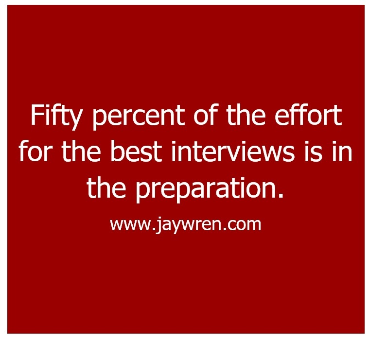 Interview Preparation Fifty Percent Of The Effort For The